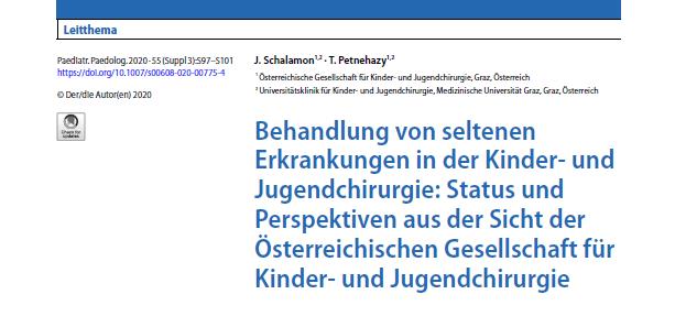Behandlung von seltenen Erkrankungen in der Kinder- und Jugendchirurgie: Status und Perspektiven aus der Sicht der Österreichischen Gesellschaft für Kinder- und Jugendchirurgie